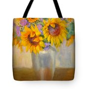 Sunflowers In A Silver Vase Tote Bag