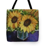 Sunflowers In A Square Vase Tote Bag