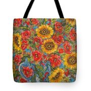 Sunflowers In Blue Pitcher. Tote Bag