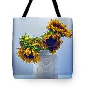 Sunflowers In Circle Vase Blue Tournesols Tote Bag