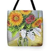 Sunflowers In Glass Vase Tote Bag