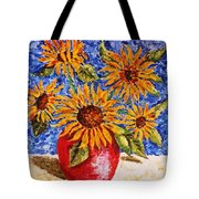 Sunflowers In Red Vase. Tote Bag