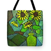 Sunflowers In Vase Green Tote Bag