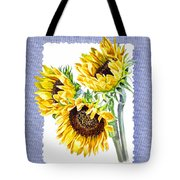 Sunflowers On Baby Blue Tote Bag
