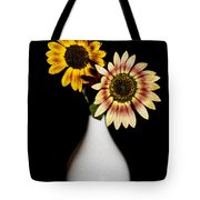Sunflowers On Black Background And In White Vase Tote Bag