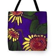Sunflowers On Purple Tote Bag