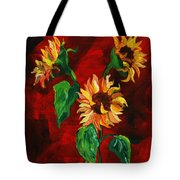 Sunflowers On Rojo Tote Bag