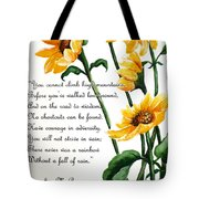 Sunflowers  Poem Tote Bag