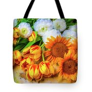 Sunflowers Tulips Tote Bag