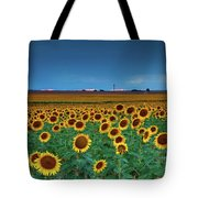 Sunflowers Under A Stormy Sky By Denver Airport Tote Bag