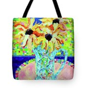 Sunflowers With Trellis Collage Tote Bag