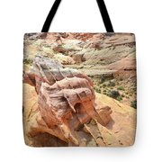 Sunlight On Colorful Boulder Above Wash 3 In Valley Of Fire Tote Bag
