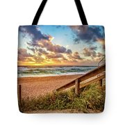 Sunlight On The Sand Tote Bag by Debra and Dave Vanderlaan