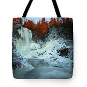 Sunlit Edge Of The Moraine Falls Tote Bag