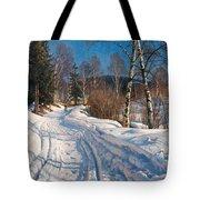 Sunlit Winter Landscape Tote Bag