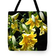 Sunlit Yellow Lilies Art Prints Botanical Giclee Baslee Troutman Tote Bag