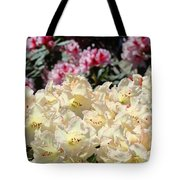 Sunlit Yellow Rhodies Art Print Creamy Rhododendrons Flowers Baslee Troutman Tote Bag