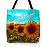 Sunny Faces- Sunflower Art Tote Bag
