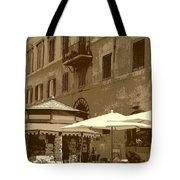 Sunny Italian Cafe - Sepia Tote Bag by Carol Groenen