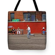 Sunny Morning On A Boardwalk In Brighton Beach  Tote Bag
