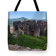 Sunny Panorama Of Greek Meteora Tote Bag