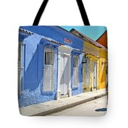 Sunny Street With Colored Houses - Cartagena-colombia Tote Bag