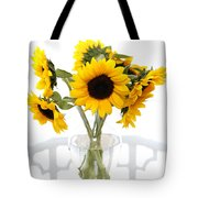 Sunny Vase Of Sunflowers Tote Bag