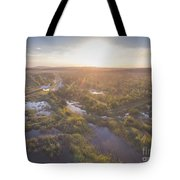 Sunraise Morning Summer Time Lake And Green Forest, In Poland  Tote Bag