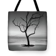 Sunrise And A Driftwood Tree In Black And White Tote Bag
