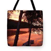 Sunrise And Birch Trees Tote Bag
