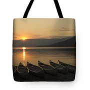 Sunrise And Canoes On Adams Lake Tote Bag