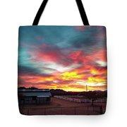 Sunrise And Horse Barn Tote Bag
