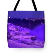 Sunrise And Moonset Over Minerva Springs Yellowstone National Park Tote Bag
