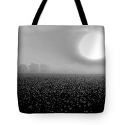 Sunrise And The Cotton Field Bw Tote Bag