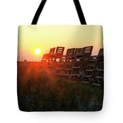 Sunrise And The Lifeguard Chairs  Tote Bag