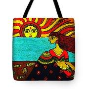 Sunrise At Beach Madhubani Painting Tote Bag