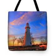 Sunrise At Marblehead Lighthouse Panorama Tote Bag