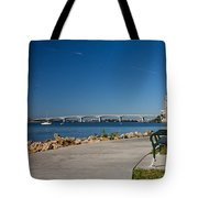 Sunrise At Ringling Bridge Tote Bag by Michael Tesar