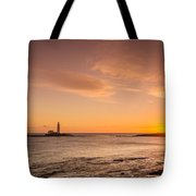 Sunrise At St Mary's Lighthouse Tote Bag