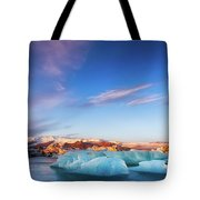 Sunrise At The Iceberg Lagoon Tote Bag