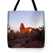 Sunrise At Tower Arch Tote Bag