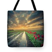 Sunrise At Tulip Filed After A Storm Tote Bag