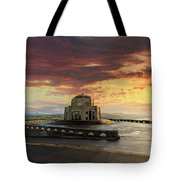 Sunrise At Vista House On Crown Point Tote Bag