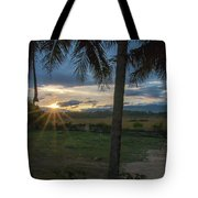 Sunrise Between The Palms Tote Bag
