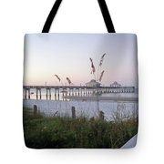 Sunrise Beyond Pier Tote Bag