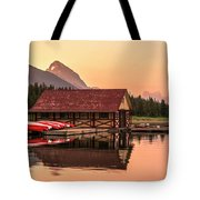 Sunrise Boat House Tote Bag