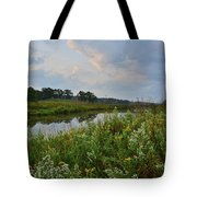 Sunrise Clouds Above Glacial Park's Nippersink Creek Tote Bag