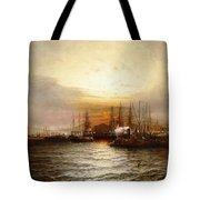 Sunrise From Chapman Dock And Old Brooklyn Navy Yard, East River, New York Tote Bag
