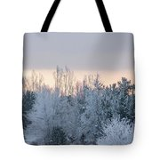 Sunrise Glos Behind Trees Frozen Trees Tote Bag