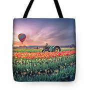 Sunrise, Hot Air Balloon And Moon Over The Tulip Field Tote Bag